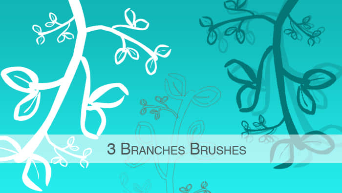 简单手绘植物枝条花纹图案PS笔刷下载