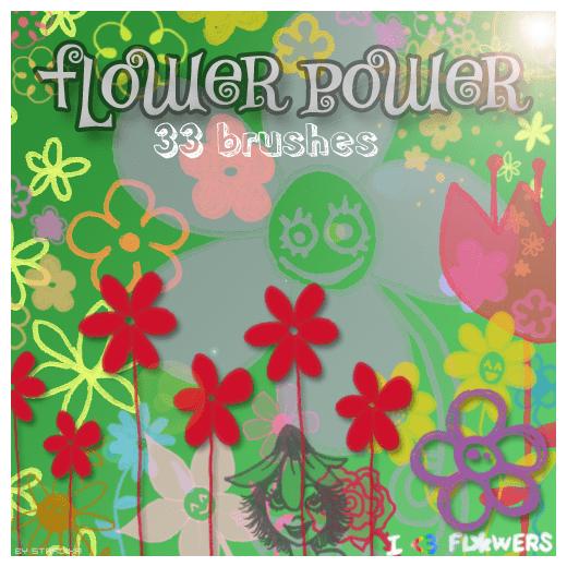手绘卡通鲜花、花朵涂鸦Photoshop童趣笔刷