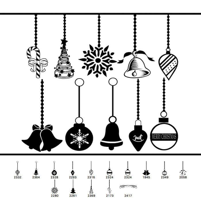 14个圣诞节可爱饰品图像Photoshop笔刷下载 铃铛笔刷 节日笔刷 彩球笔刷 圣诞节笔刷  adornment brushes