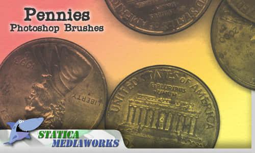 欧美硬币Photoshop笔刷下载 钱币笔刷 硬币笔刷  other brushes