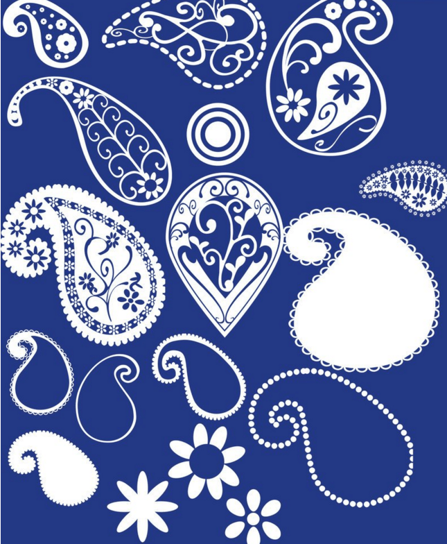 漂亮的佩斯利植物花纹Photoshop笔刷下载