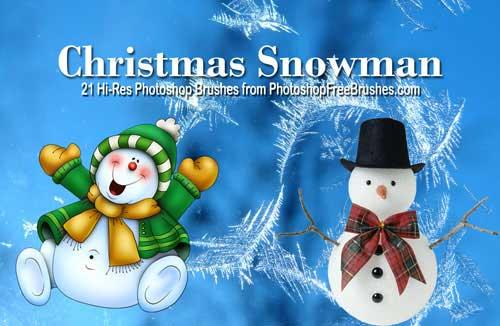 21个圣诞节雪人造型Photoshop笔刷下载 雪人笔刷 美图笔刷 圣诞节雪人笔刷 圣诞节笔刷  characters brushes