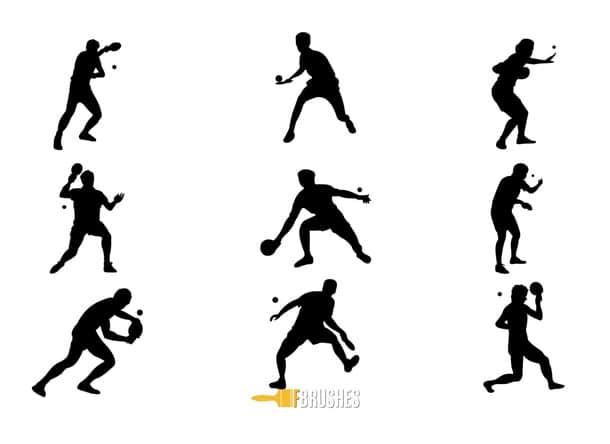 乒乓球运动员造型剪影Photoshop笔刷