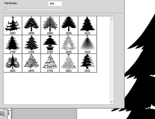 可爱的卡通圣诞树Photoshop笔刷下载