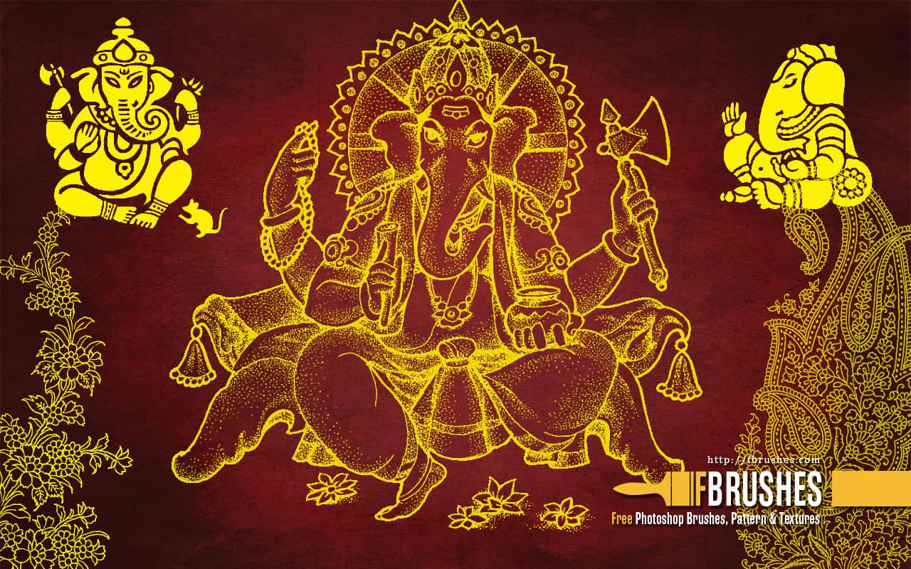 印度神象、象神图腾Photoshop笔刷下载