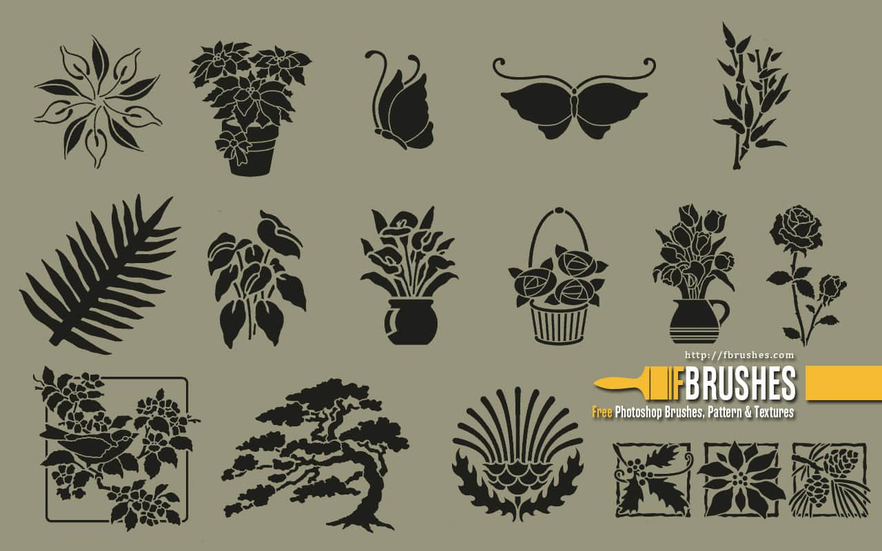 细致的精美植物花纹、壁画图案Photoshop笔刷下载 艺术花纹笔刷 植物花纹笔刷  plants brushes