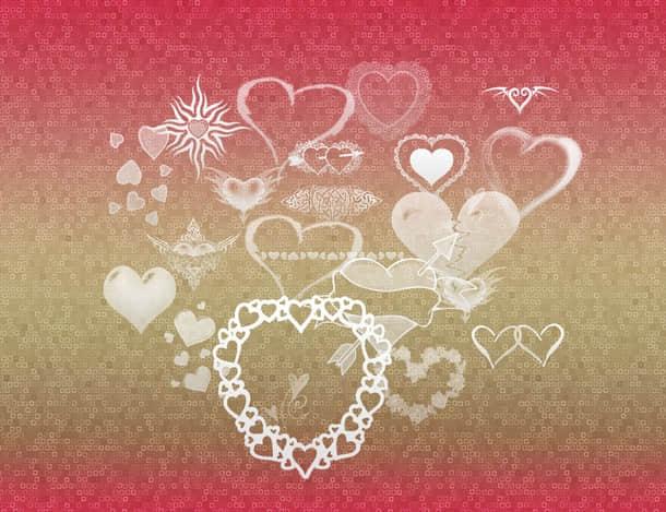 疯狂情人节爱心纹饰图案PS笔刷下载 爱心笔刷 情人节笔刷  love brushes