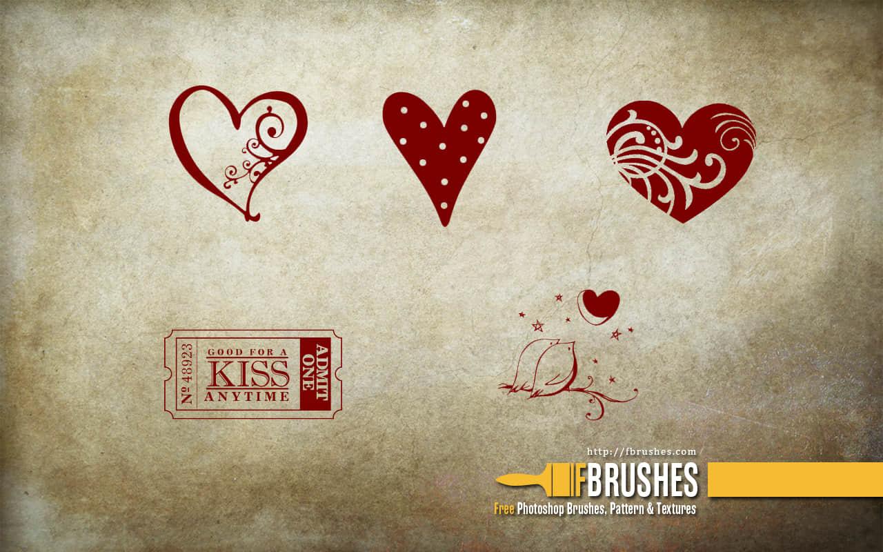 浪漫爱心、爱情图案Photoshop情人节饰品笔刷