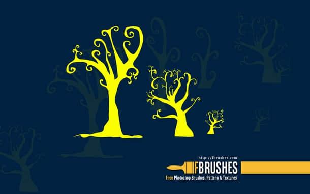 怪异的万圣节树木图案PS笔刷下载
