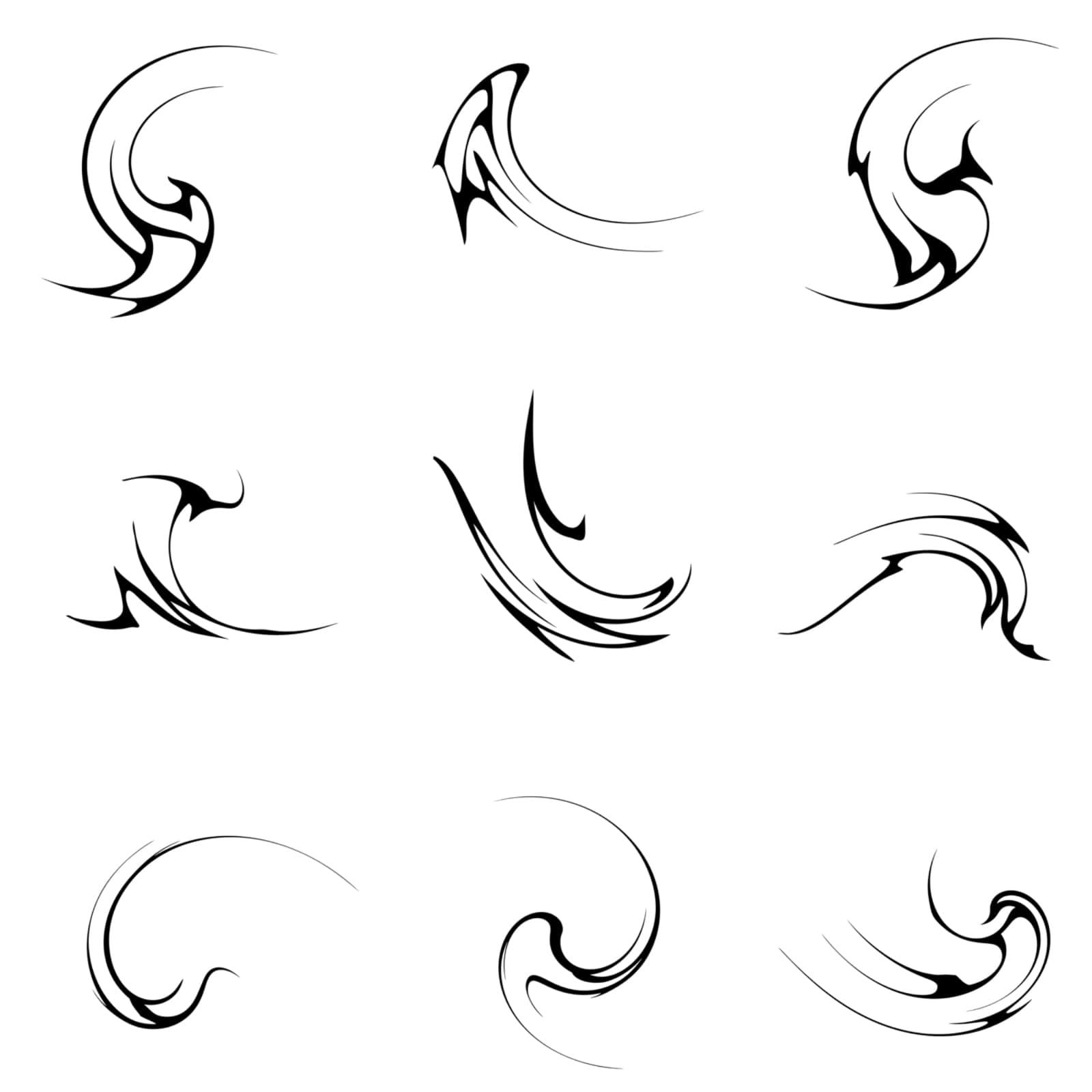 一组螺旋扭曲线条图案PS笔刷下载
