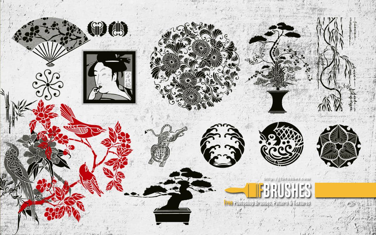 日本元素花纹图案、艺术饰品PS笔刷下载