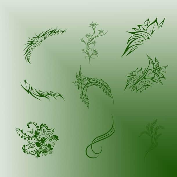 独立的优美艺术花纹图案Photoshop植物花纹笔刷 植物花纹笔刷  flowers brushes
