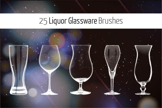 25种高脚酒杯、玻璃酒杯、葡萄酒杯PS笔刷下载