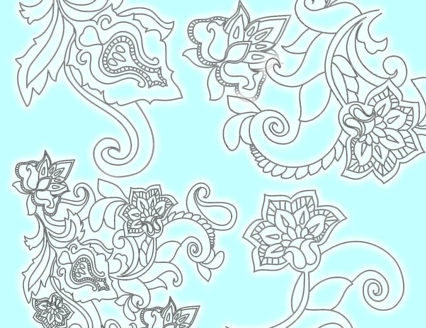 漂亮的手绘线框花朵、鲜花图案PS笔刷下载 鲜花笔刷 花朵笔刷 线框花纹笔刷 线框花朵笔刷 手绘花纹笔刷  flowers brushes