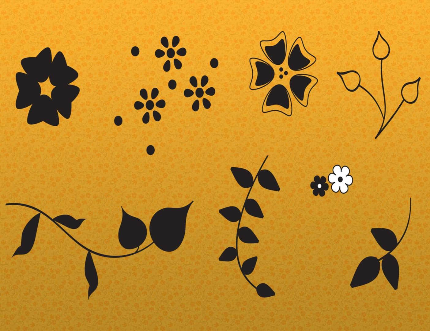简单植物花纹图案PS笔刷下载
