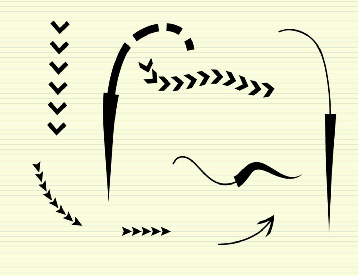 弯曲的箭头符号标志PS笔刷下载 箭头笔刷 标记笔刷  symbols brushes