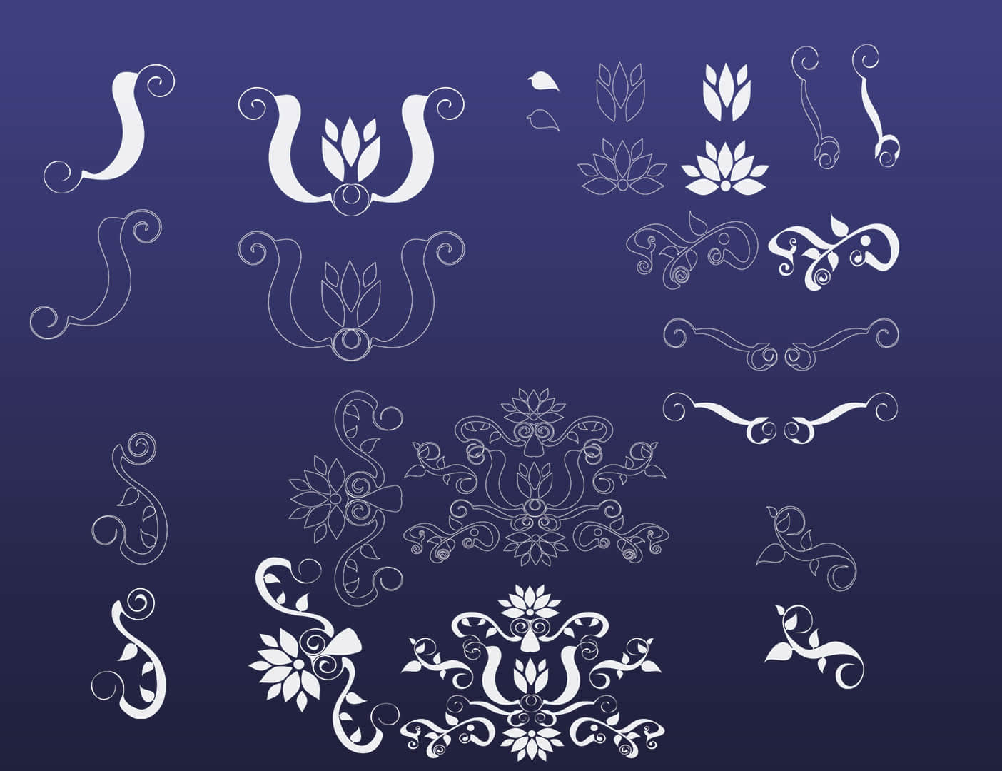 装饰性花纹图案、欧式花纹PS笔刷下载