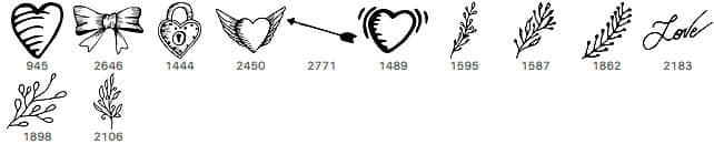 漂亮的情人节饰品、卡哇伊爱情元素PS笔刷下载