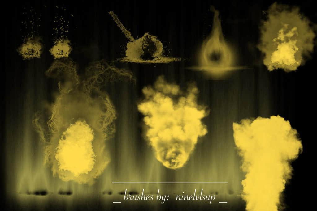 9种高清火焰爆炸、炸药爆炸、爆燃效果PS笔刷下载