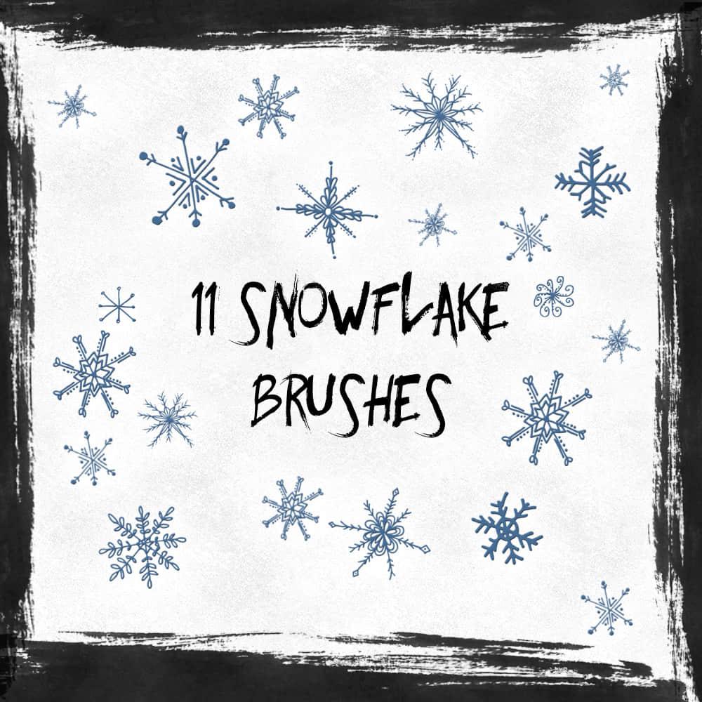 可爱童趣涂鸦雪花、手绘花纹图像PS笔刷下载