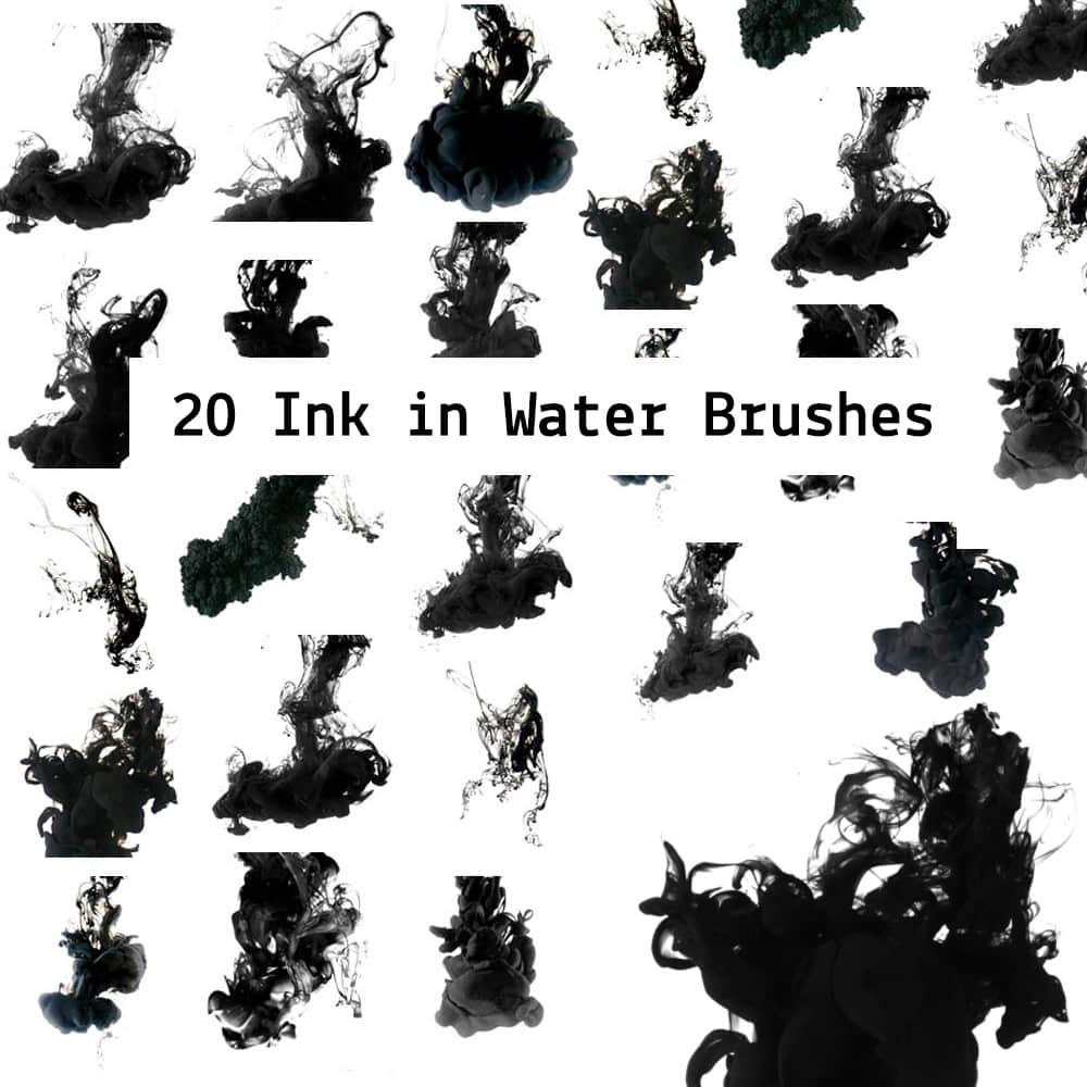 20种油漆水墨、水中散墨效果PS笔刷下载