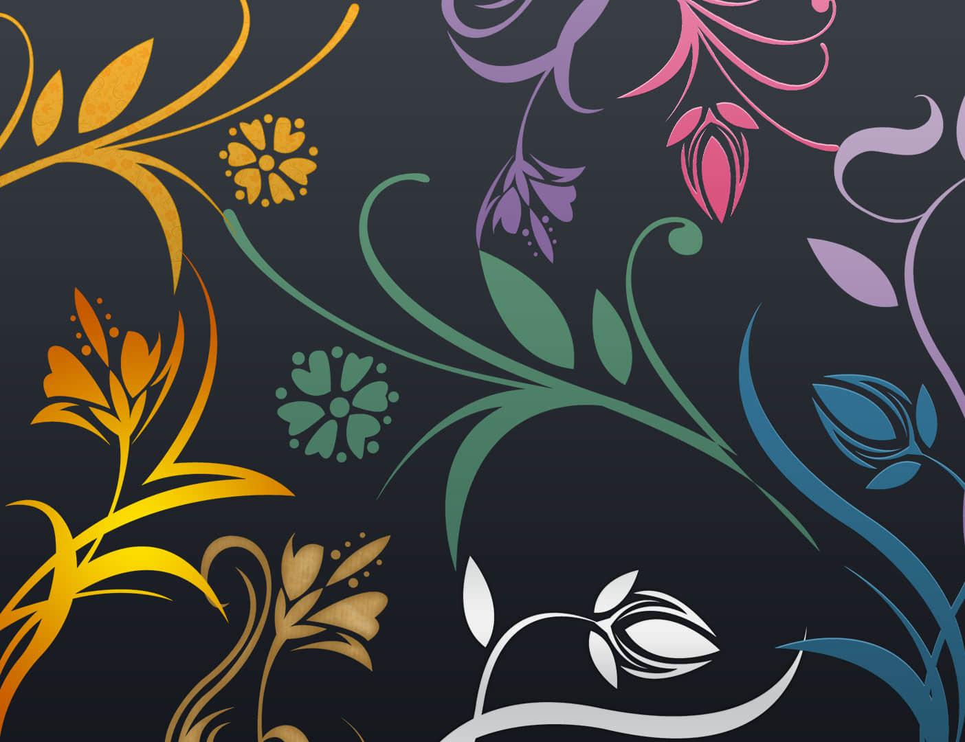 漂亮的艺术花卉图案印花纹理PS笔刷下载