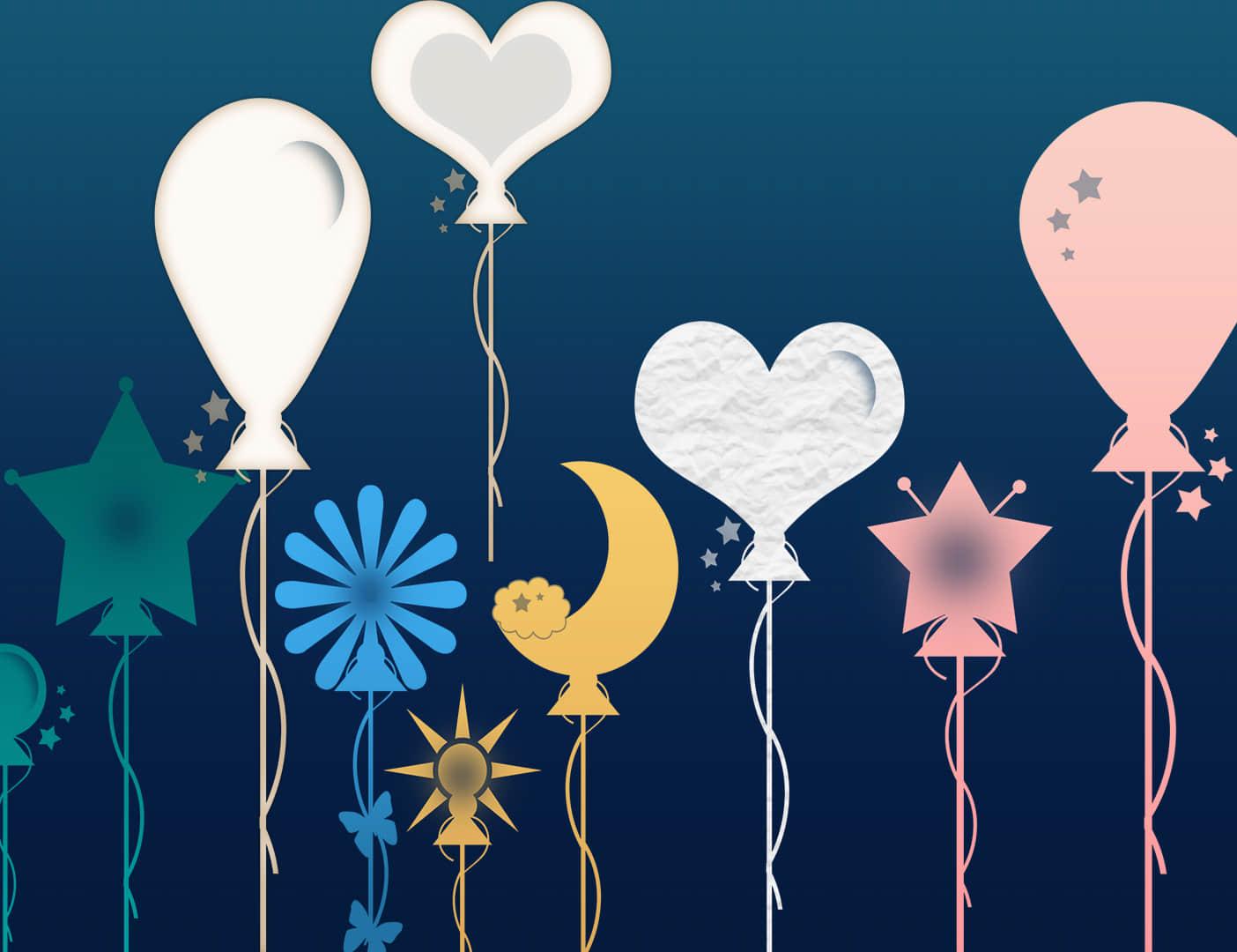 爱心、星星、月亮、花朵气球图案PS装扮笔刷