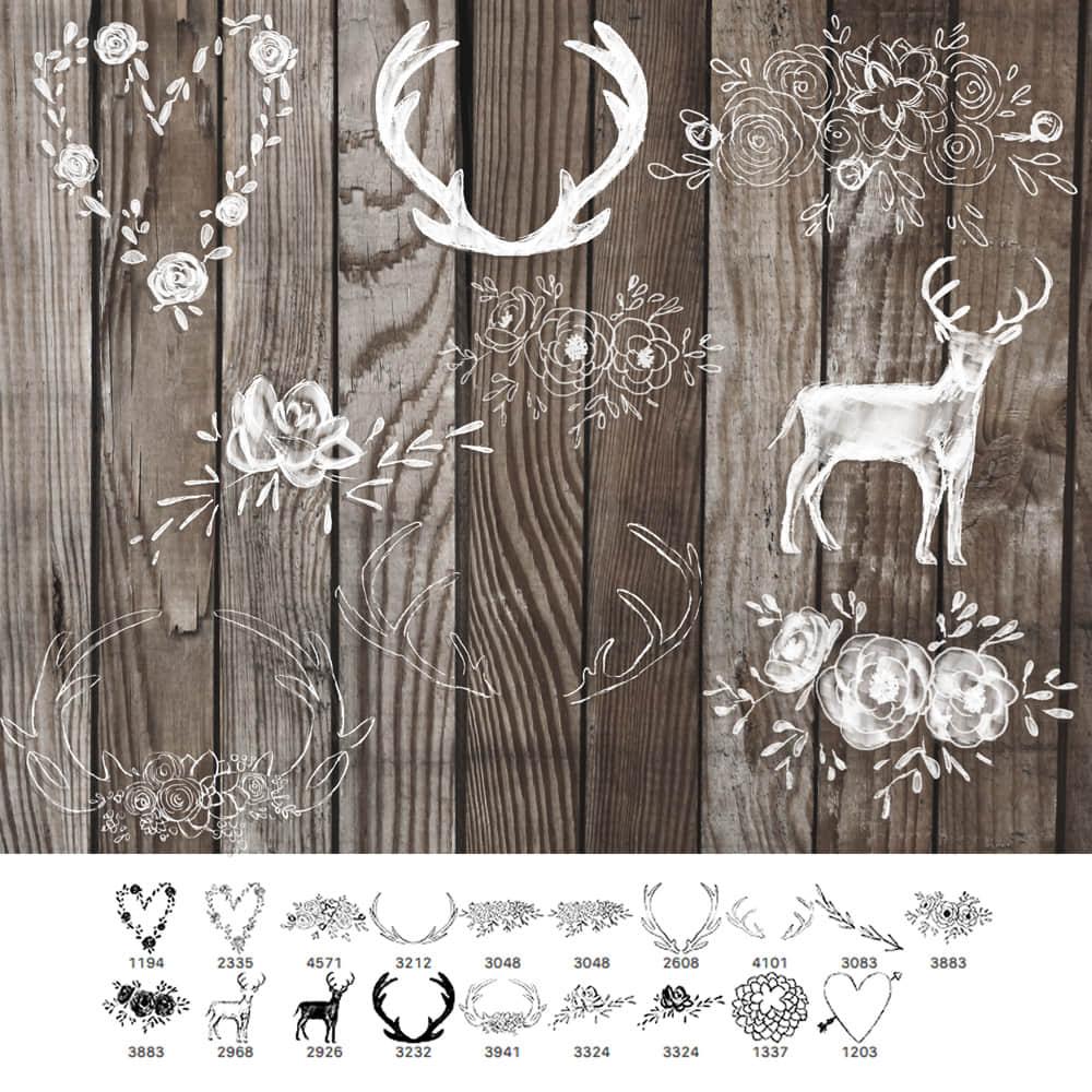 小清新麋鹿、鲜花图案、鹿角手绘纹饰PS美图笔刷