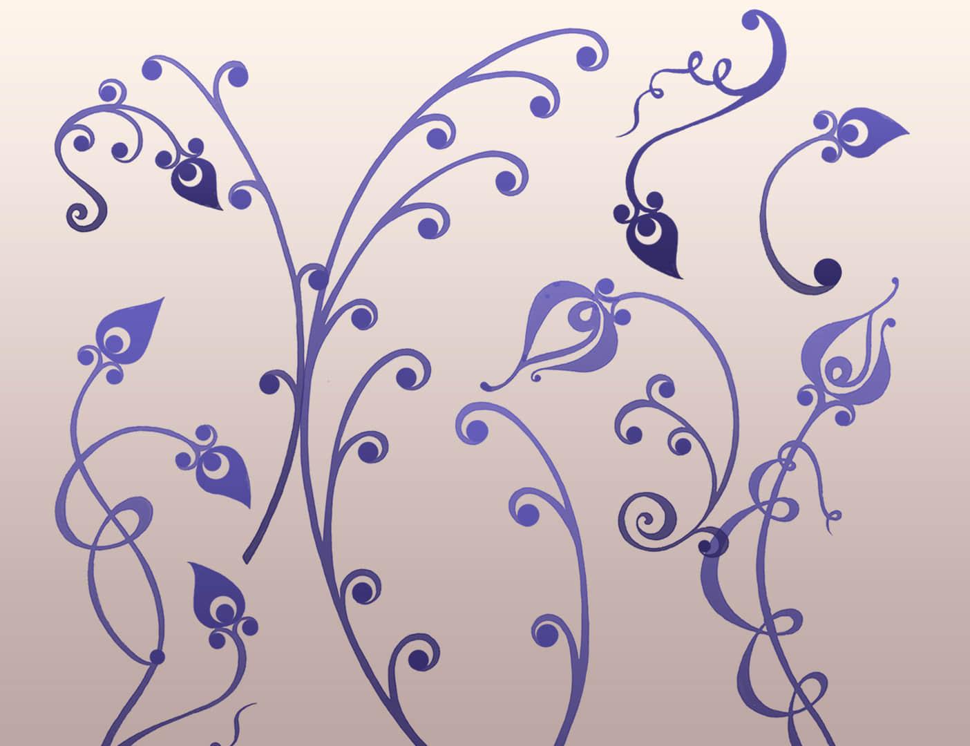 优雅的植物藤蔓艺术花纹图案PS笔刷下载