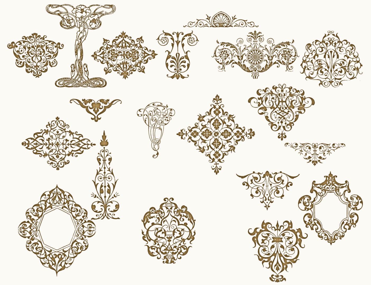 维多利亚植物花纹、贵族花纹图案PS笔刷下载