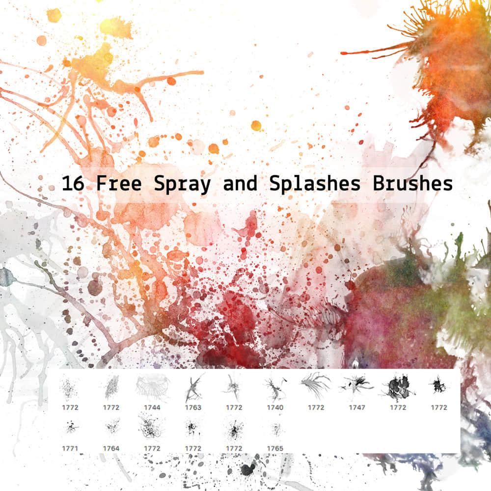 16种自由飞溅、滴溅油漆、水墨效果PS笔刷下载