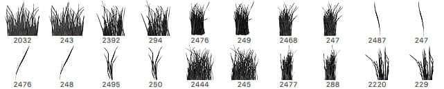 20种免费的青草、小草、草丛Photoshop笔刷下载 青草笔刷 草地笔刷 草丛笔刷 绿草笔刷 小草笔刷  plants brushes