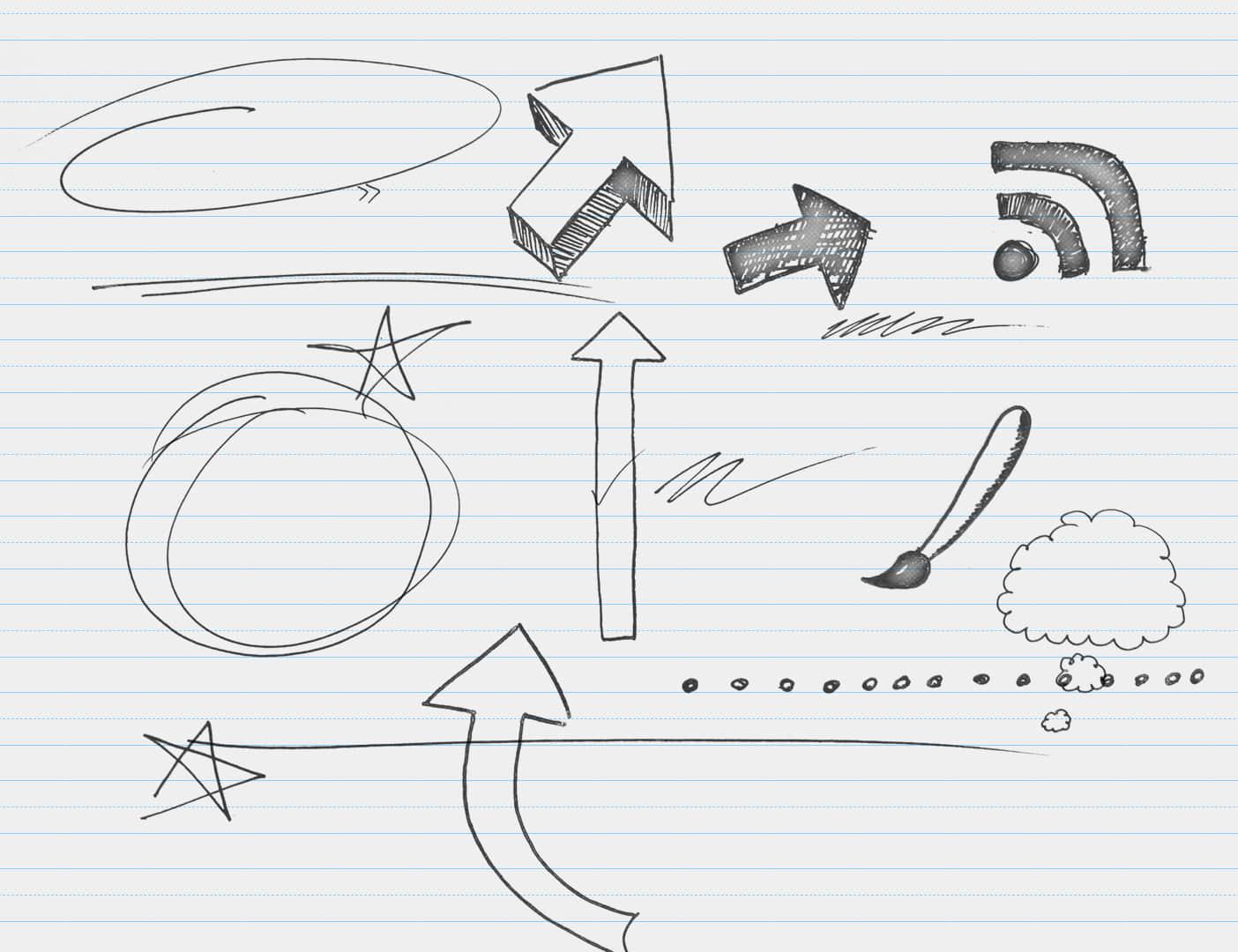 手绘童趣涂鸦箭头、星星、圆圈等PS笔刷下载