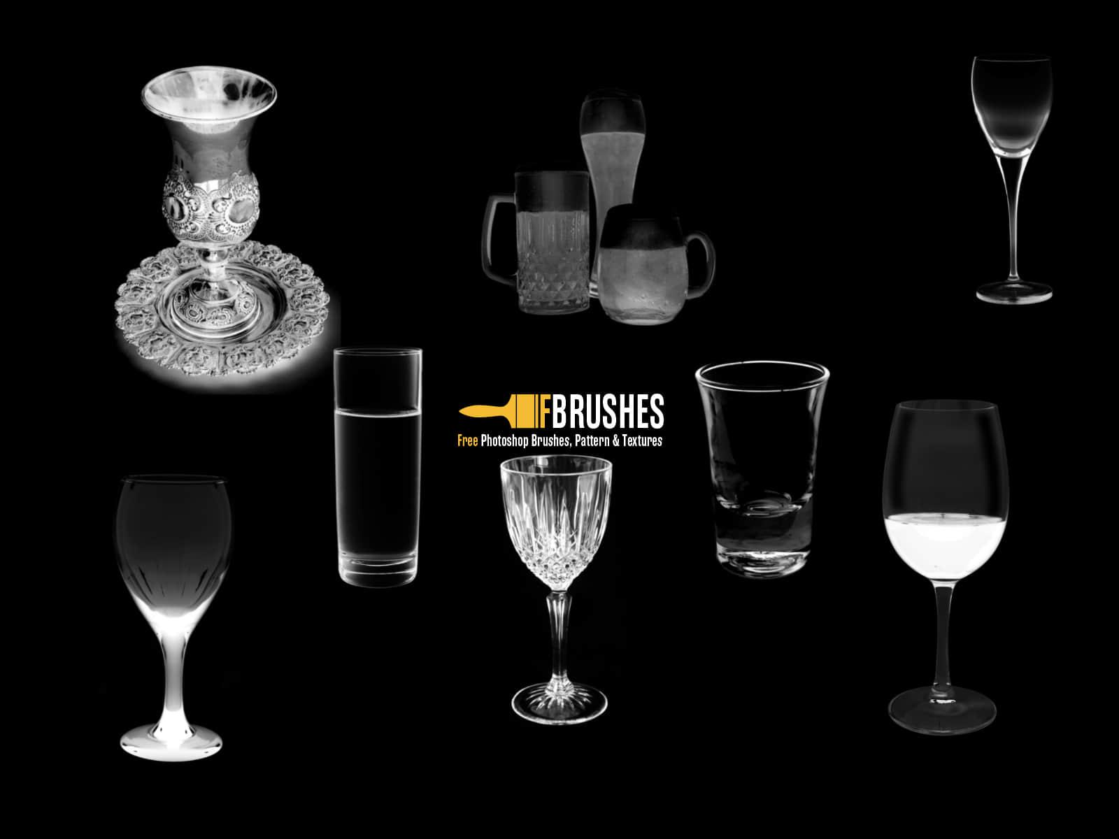 酒杯、透明玻璃杯、水杯、杯子、啤酒杯PS笔刷素材 银杯笔刷 玻璃杯笔刷 水杯笔刷 杯子笔刷 啤酒杯笔刷  other brushes