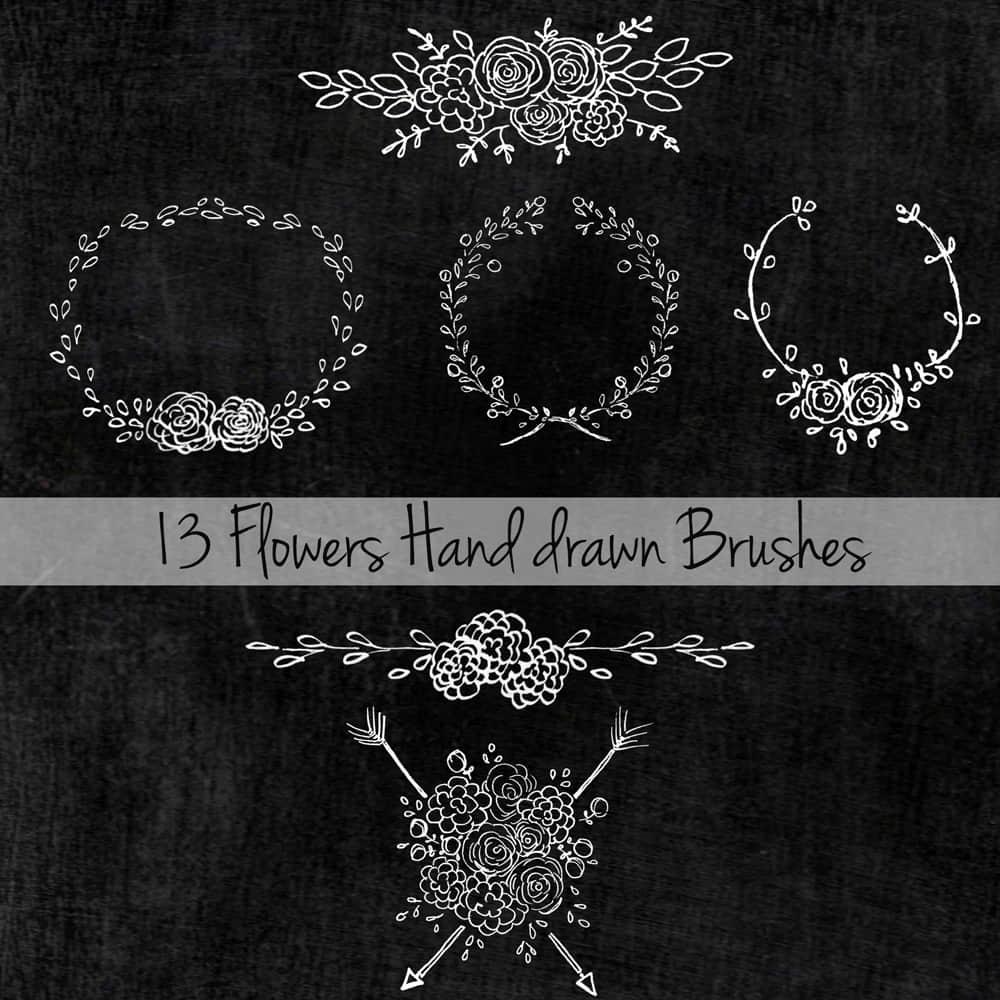 手绘花纹、花圈装饰性图案Photoshop笔刷素材下载