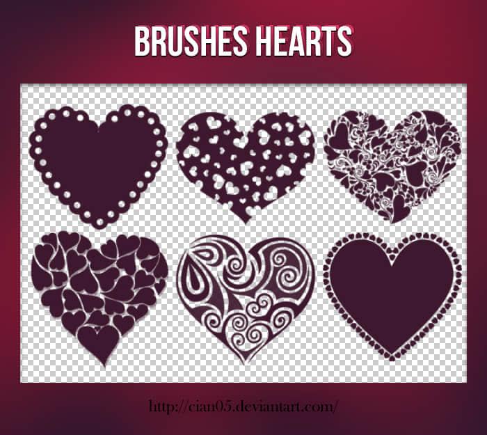 6种可爱、浪漫的爱心图案Photoshop笔刷下载