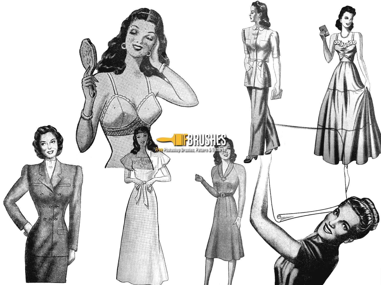 复古欧美时髦女郎、女性图案Photoshop笔刷下载 欧美女郎笔刷 时髦女郎笔刷 女郎笔刷 女性笔刷 女人笔刷  characters brushes