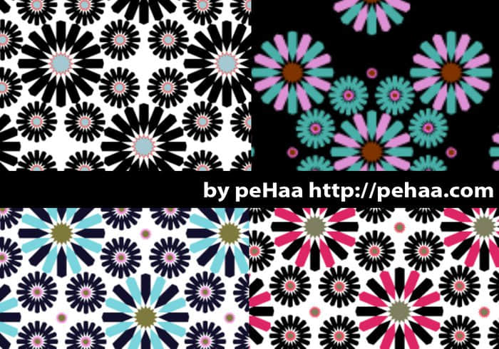 4种多边花纹图案Photoshop填充素材下载 PS填充素材  flowers brushes ps%e5%a1%ab%e5%85%85%e5%9b%be%e6%a1%88%e7%b4%a0%e6%9d%90