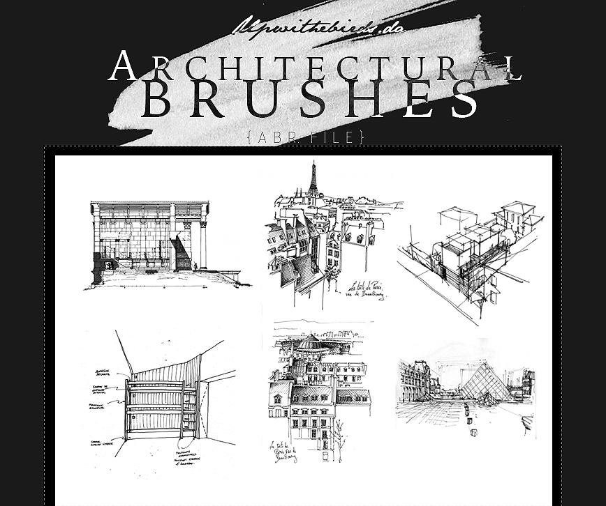 建筑设计草稿图纸Photoshop笔刷下载