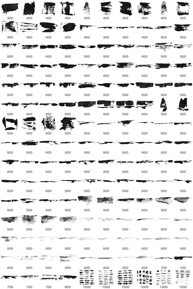 80种油漆刷子、画笔痕迹Photoshop笔刷下载