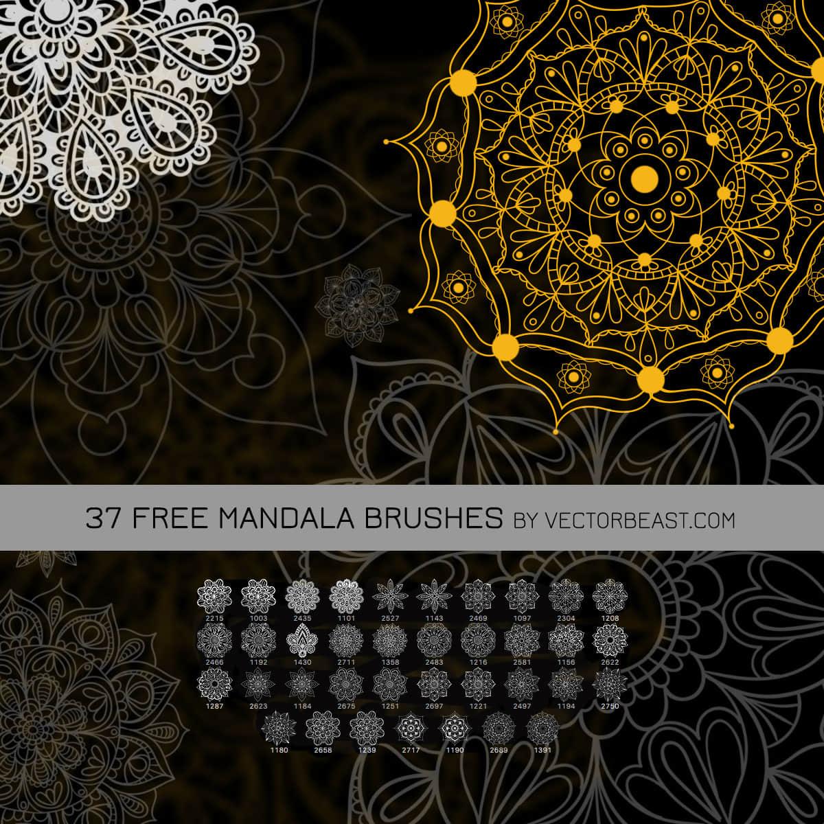 37种漂亮的曼荼罗花纹、印花图案Photoshop笔刷素材 植物花纹笔刷 曼荼罗笔刷 古典花纹笔刷 印花笔刷  flowers brushes