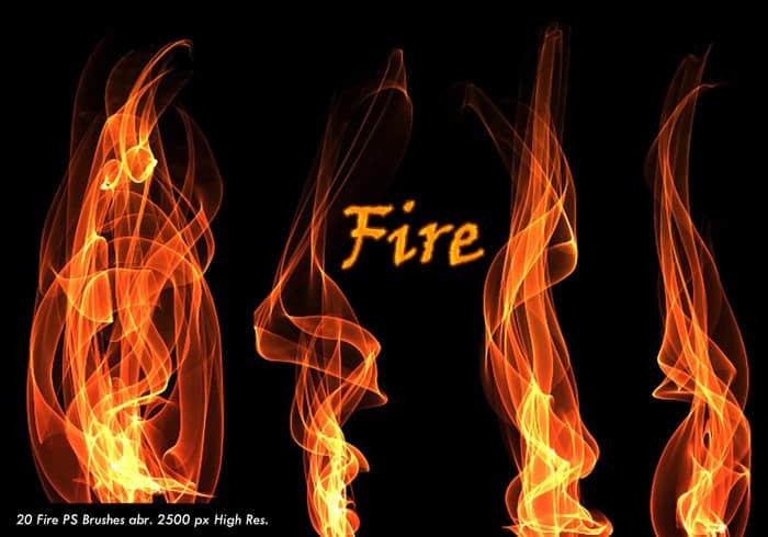 20种高分辨率火苗、火焰燃烧Photoshop笔刷素材下载