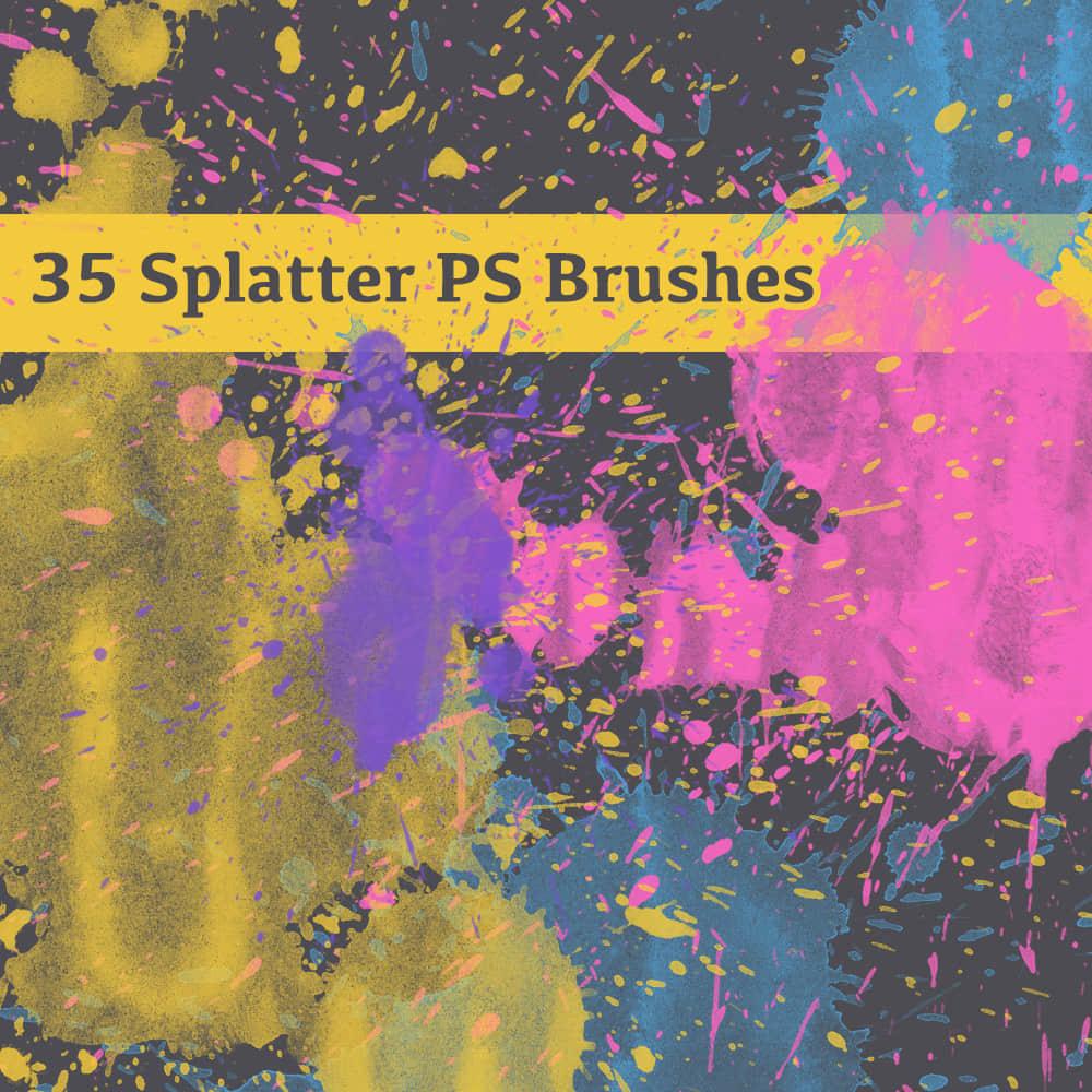 35种油漆水墨、水彩喷溅、滴溅Photoshop高清笔刷下载
