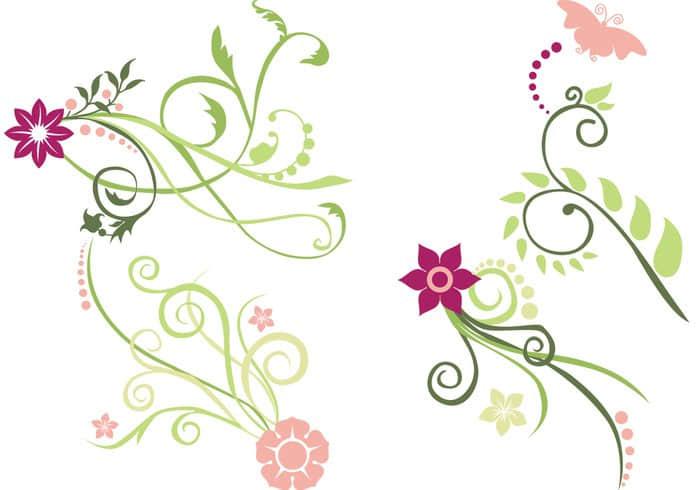 优雅的植物艺术纹饰图案Photoshop印花笔刷