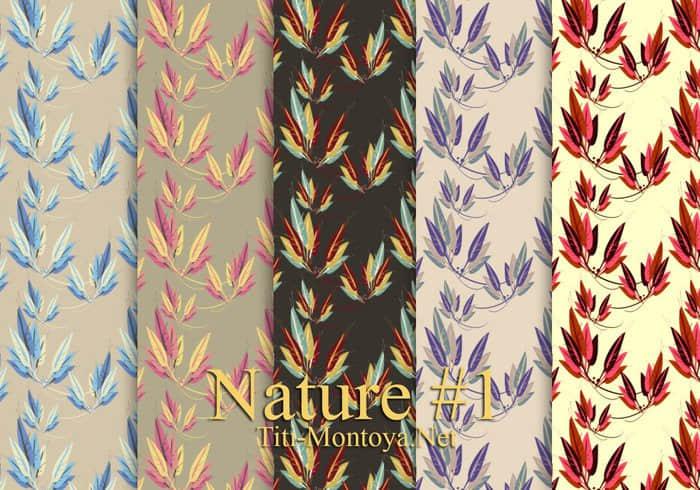 5种树叶花纹Photoshop背景填充素材下载