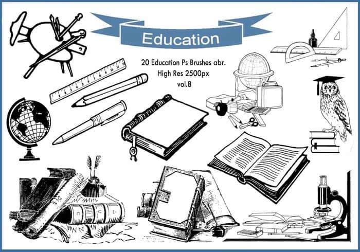 20个教育学习元素图形Photoshop笔刷素材下载 教育笔刷 学习笔刷 办公笔刷  %e5%8d%a1%e9%80%9a%e7%ac%94%e5%88%b7