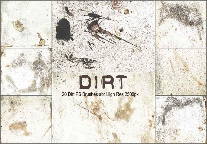 20种污垢、墙壁岁月侵蚀纹理Photoshop高清笔刷下载