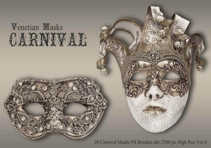 20个华丽面罩、化装舞会道具PS笔刷下载