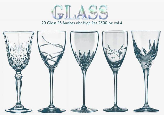 20种酒杯、玻璃杯、高脚杯Photoshop杯子笔刷
