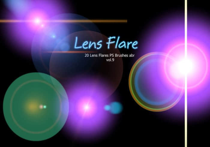 20种镜头耀斑、光斑、光晕效果PS笔刷